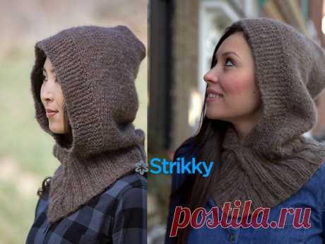 Снуд-капюшон от Plymouth Yarn вязаный спицами от Strikky.ru Снуд вяжется в основном лицевой гладью (лц/гл) спицами из шерстяной пушистой пряжи, отделан резинкой. Он имеет тёплый капюшон, который хорошо сидит на голове. Описание дано