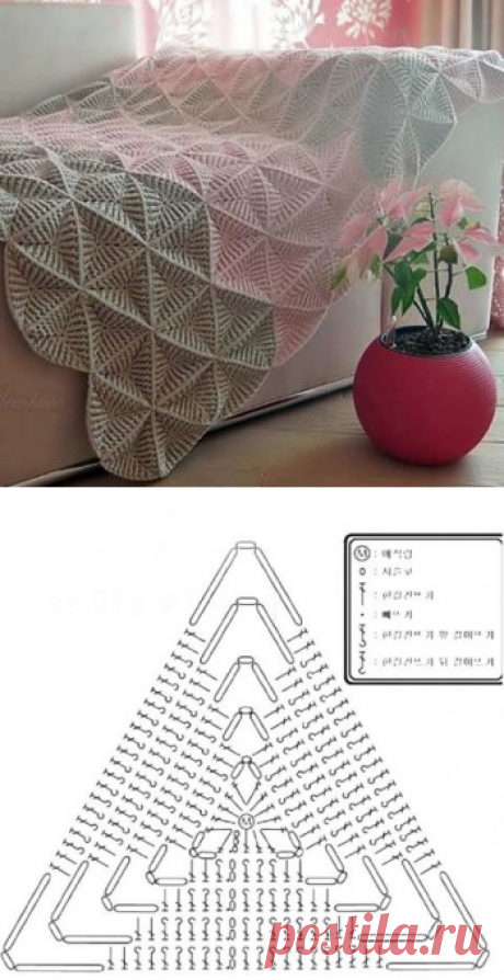 Мозаичный плед крючком (схема мотива для пледа и сумки)