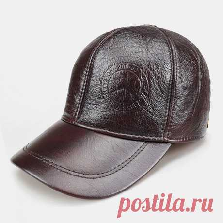 Men Genuine Leather Round Top Casual Adjustable Ear Protection Large Brim Baseba - US$36.99