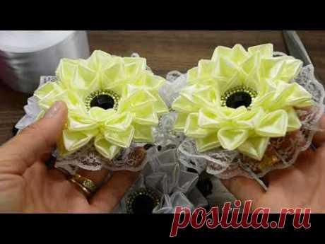 Мастер-класс цветы из ленты 5см/Beatiful Ribbon Flowers/DIY/Tutorial