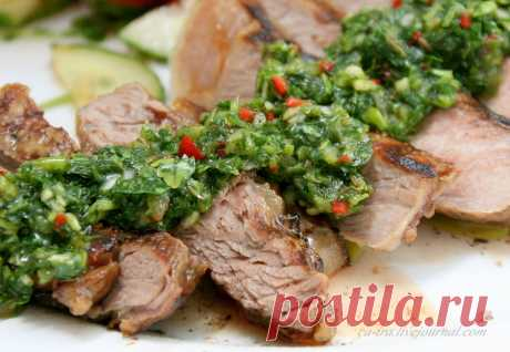 Meat a grill with chimichurra sauce \u000aPost about sauce mainly because about meat I clever words am not able, everything occurs on usual intuition.\u000aChimichurri is from Argentina, there this sauce ketchup is widespread practically as among us, …