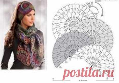 Эффектный шарф и повязка на голову связанные крючком. Схема
