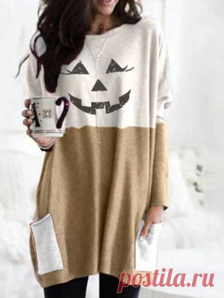 Women Halloween Contrast Patchwork Print Casual Mid-Length Sweatshirts With Pock - US$14.99
