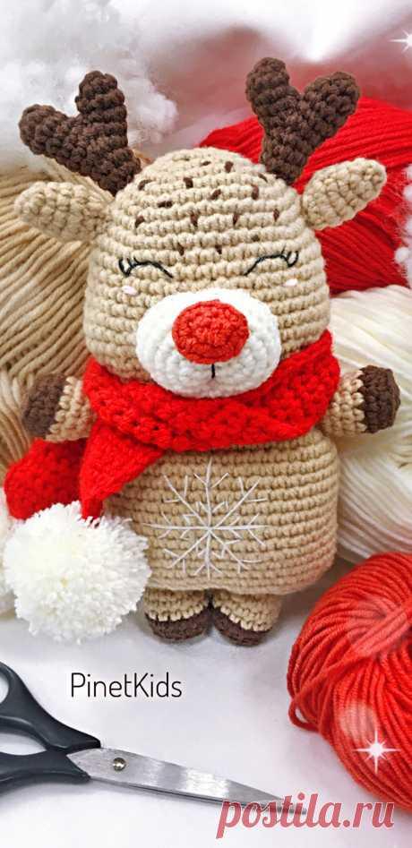 PDF Оленёнок крючком. FREE crochet pattern; Аmigurumi doll patterns. Амигуруми схемы и описания на русском. Вязаные игрушки и поделки своими руками #amimore - олень, оленёнок.