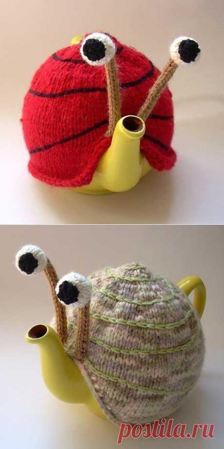 Snail - a hot-water bottle on a teapot.