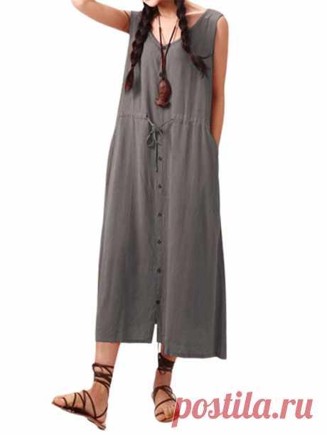 Women Drawstring Waist Buttons Side Pockets Sleeveless Dress - US$23.99
