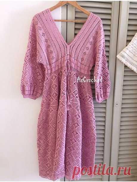 Розовое платье. Крючок.