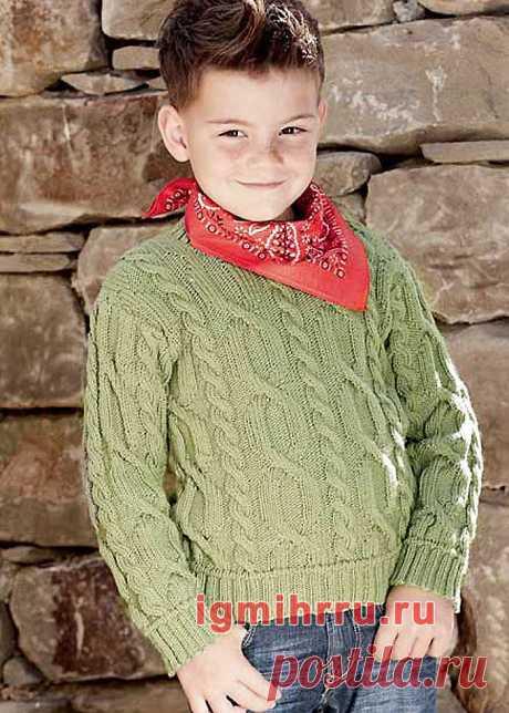 Для мальчика 6-12 лет. Пуловер с узором из «кос». Вязание спицами для мальчиков со схемами и описанием