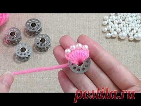 Super Easy Flower Making Idea with Woolen - Amazing Hand Embroidery Flower Design Trick -Sewing Hack
