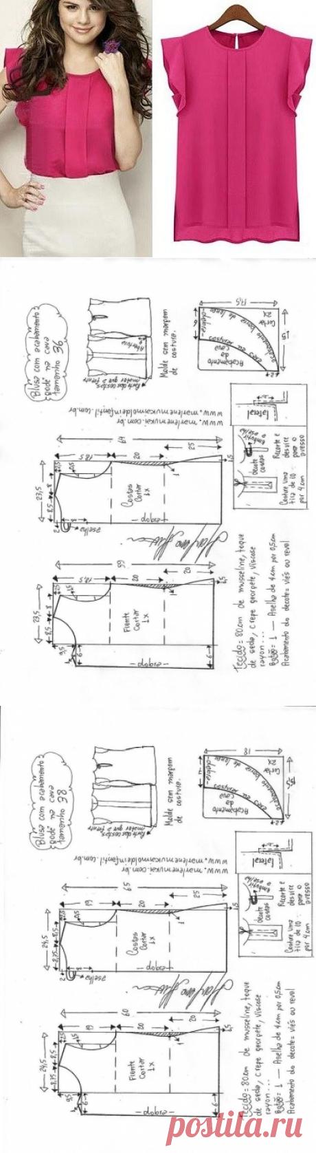 Выкройка красивой офисной блузки на размеры евро от 36 до 56 (Шитье и крой) – Журнал Вдохновение Рукодельницы