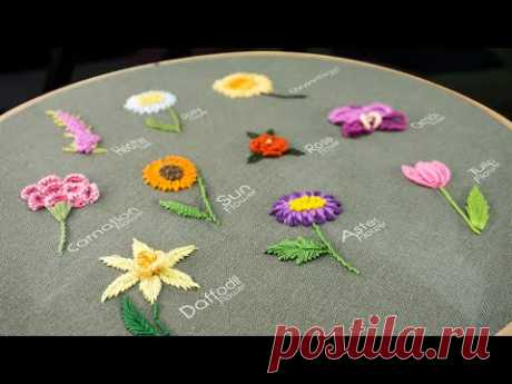 10 Gorgeous Flower Ideas: Hand Embroidery Art with Simple Stitches - YouTube