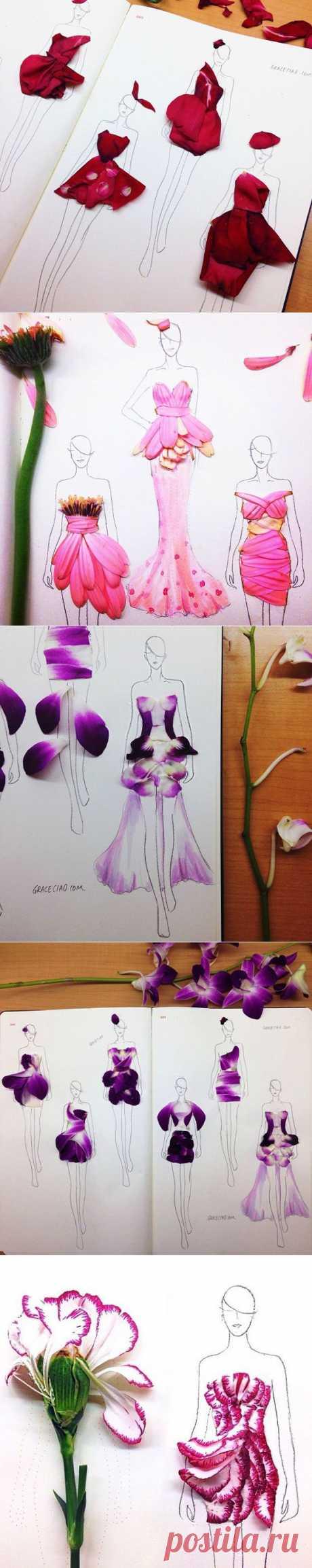 Модные цветочные эскизы (9 фото)