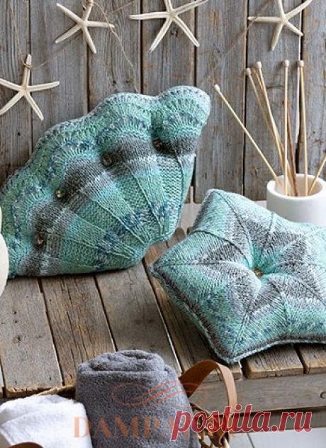 Вязаные подушки в морском стиле | DAMские PALьчики. ru