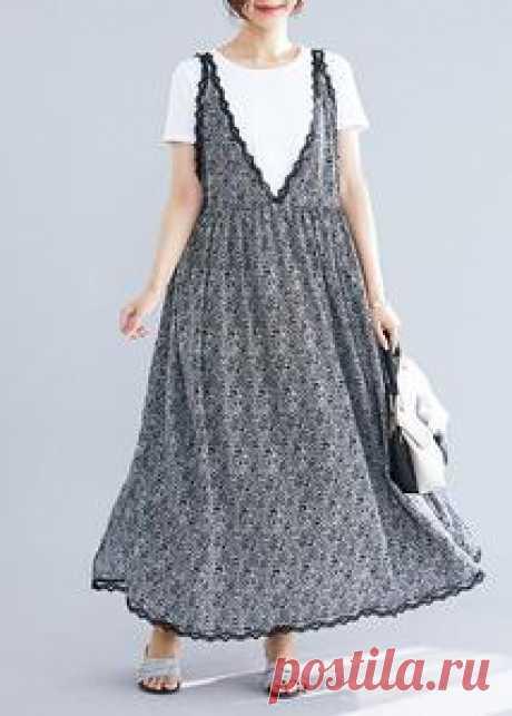 100% black floral v neck chiffon quilting dresses lace ruffles Maxi su – SooLinen