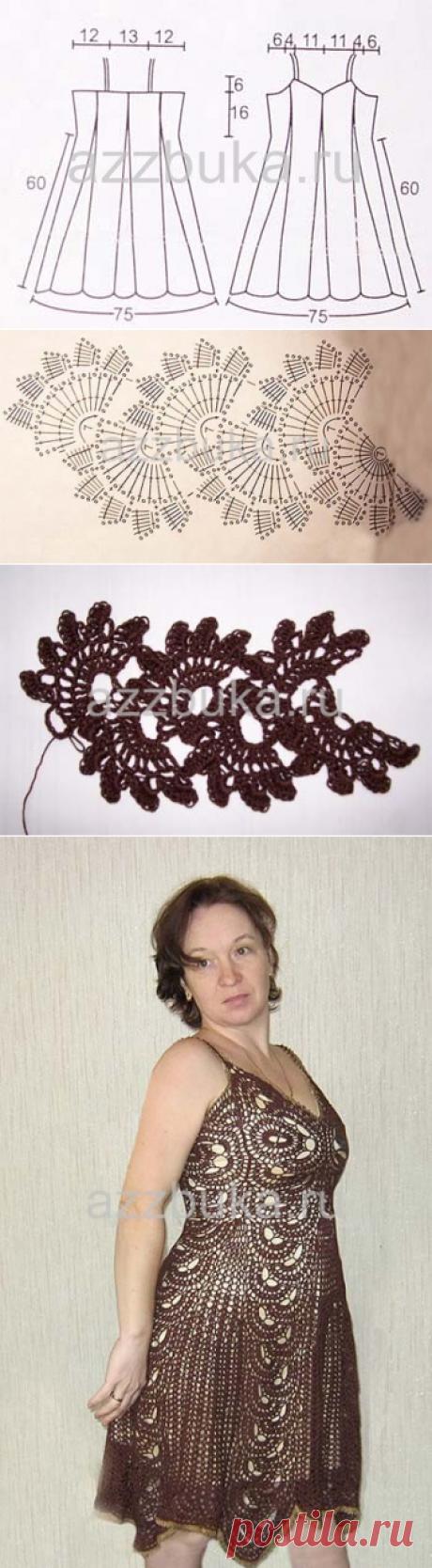Платье из ленточного кружева,вязаное крючком.Со схемами | |