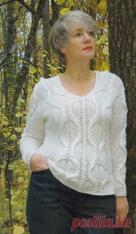 Белый пуловер спицами   Все-Вязание Вязаные белый пуловер спицами женский