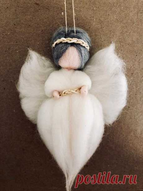 Handmade Guardian Angel-Fairy ornament with 100% Merino Wool. White and gold. 7 inches in height