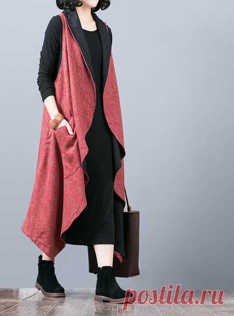 Red Linen Loose Vest-Suit Collar Wild Sleeveless | Etsy