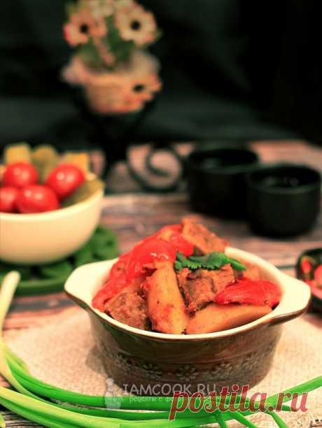 Жаркое с болгарским перцем и свининой — рецепт с фото на Русском, шаг за шагом. Жаркое со сладким перцем и свининой - сытное блюдо для всей семьи. #жаркое #рецепт #рецепты #еда #обед #ужин