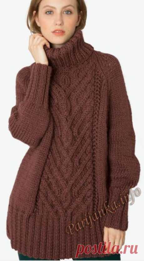 """Пуловер-пончо (ж) 01*25 """" Doucelaine"""" Bergere de France №5071"""