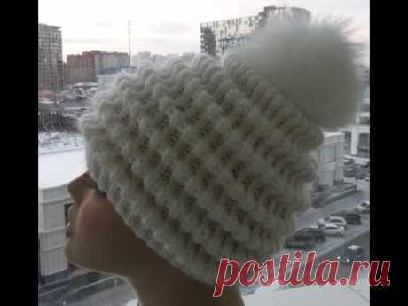 "Женская шапка спицами "" Волны""-Women's cap spokes ""Waves"" (Шапка #26) - YouTube"