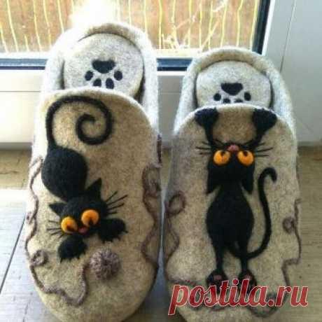 Забавная идея для тапок с котеюшками  #идеи@idearukodel