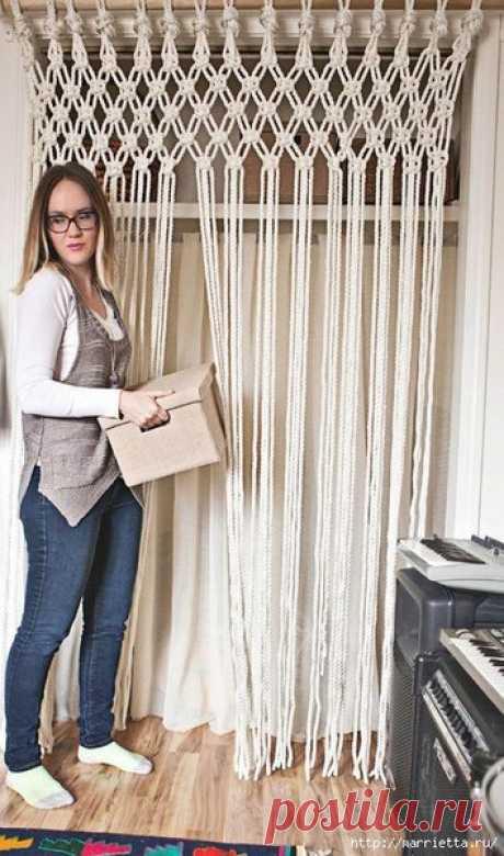 Из веревки можно сделать своими руками занавеску или шторку в технике макраме