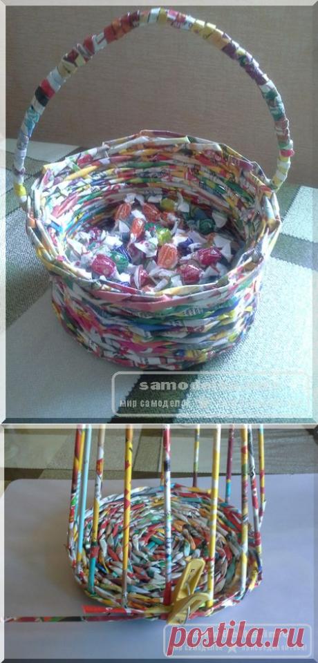Плетение корзинки из газетных трубочек для начинающих пошагово с фото