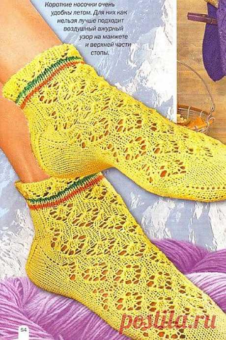 Ажурные носочки спицами | Золотые Руки
