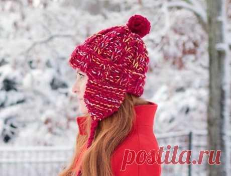 Женская шапка ушанка спицами описание вязания - WEKNIT Эта женская шапка ушанка связанная спицами согреет в холодные зимние дни и сделает ваш образ более ярким и привлекательным. Схема вязания