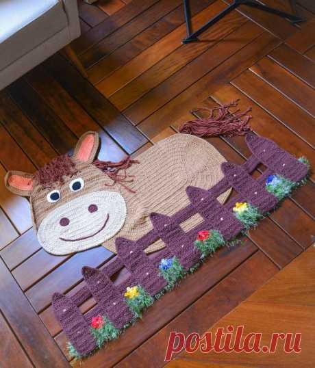 Весёлый коврик для детской комнаты крючком — HandMade