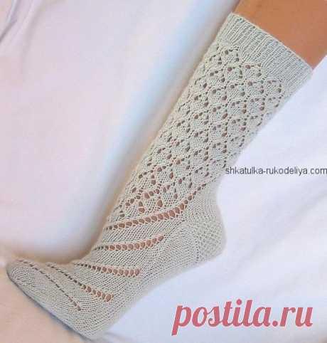 Высокие носки спицами. Красивые носки с описанием спицами | Шкатулка рукоделия. Сайт для рукодельниц.