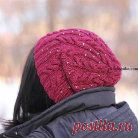Шапка спицами с бисером. Женская шапка бини спицами схемы Шапка спицами с бисером. Женская шапочка с аранами схемы Похожее