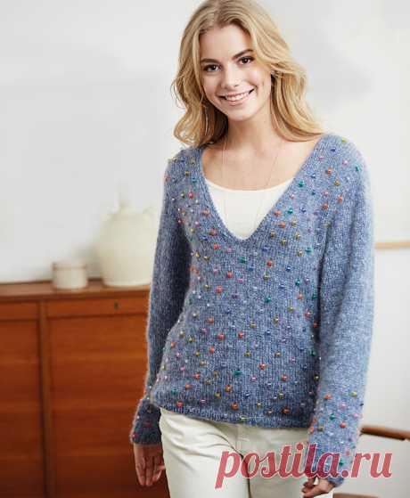 Пуловер с бусинами - схема вязания спицами. Вяжем Пуловеры на Verena.ru