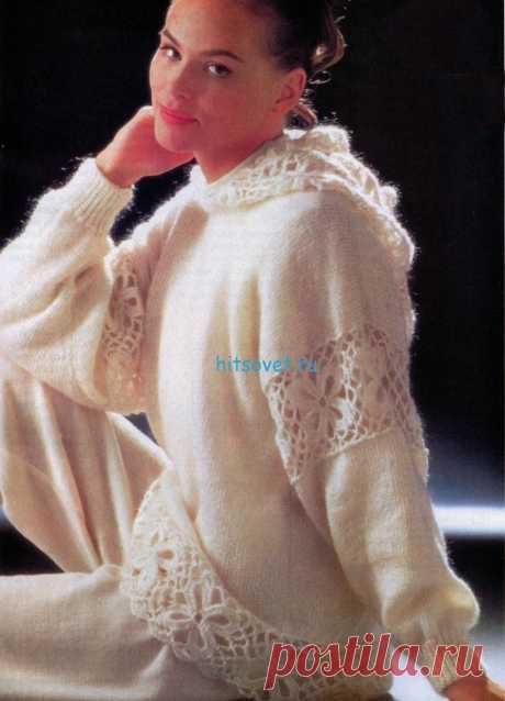Вязаный пуловер с капюшоном схема - Хитсовет Вязаный пуловер с капюшоном схема. Вам потребуется: 450 г пряжи (100% шерсть) белого цвета.