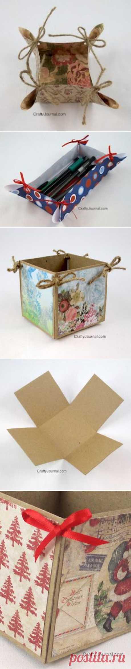 Бумажные корзинки и коробочки.