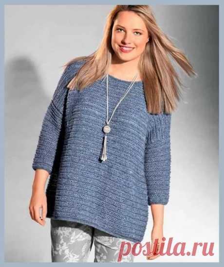 Свободный пуловер прямого силуэта