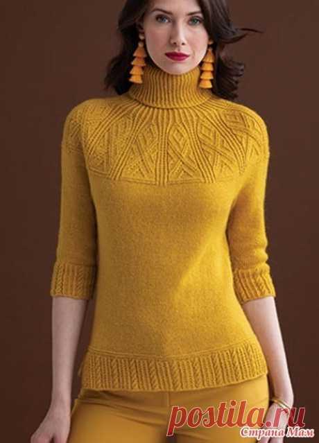 """Описание свитера переведено из журнала """"Vogue Knitting"""" осень 2018.  Размеры: S (M, L, 1X, 2X)  Окружность груди – 91.5 (101.5, 111.5, 122, 132) см,  Длина – 56 (57, 58.5, 59.5, 61) см,  Окружность руки на уровне проймы – 30.5 (33, 35.5, 37, 39.5) см.  Необходимые материалы: пряжа Kelbourne Woolens Andorra (60% мериносовая шерсть, 20% горная шерсть, 20% мохер; 169 м / 50 грамм в мотке) – 6 (7, 8, 9, 10) мотков.  Необходимые инструменты: круговые спицы № 3.5 длиной 80 см, к..."""
