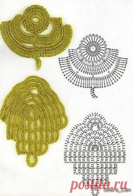 Схемы вязания листиков для ирландского кружева. - запись пользователя junkus (Наталья) в сообществе Вязание крючком в категории Вязание крючком для начинающих