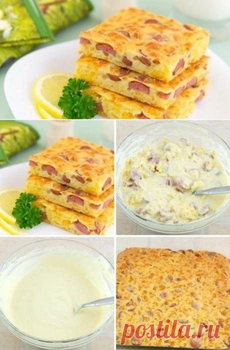 """""""Конопатый"""" пирог на скорую руку с сосисками и сыром - обалденная вкуснятина!"""
