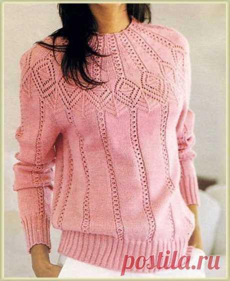 Ажурный и нарядный пуловер спицами — Сделай сам, идеи для творчества - DIY Ideas