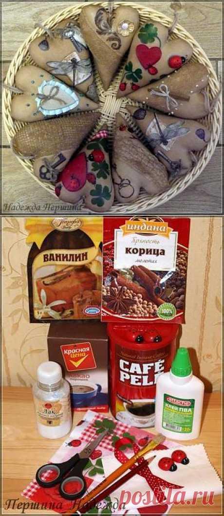 Los corazoncitos perfumados para adornamiento de la cocina - mk con poshagovym la foto.