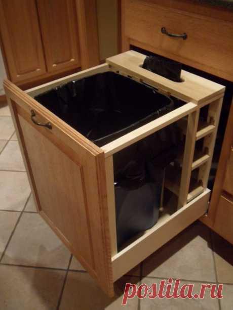 Как спрятать мусорное ведро на кухне