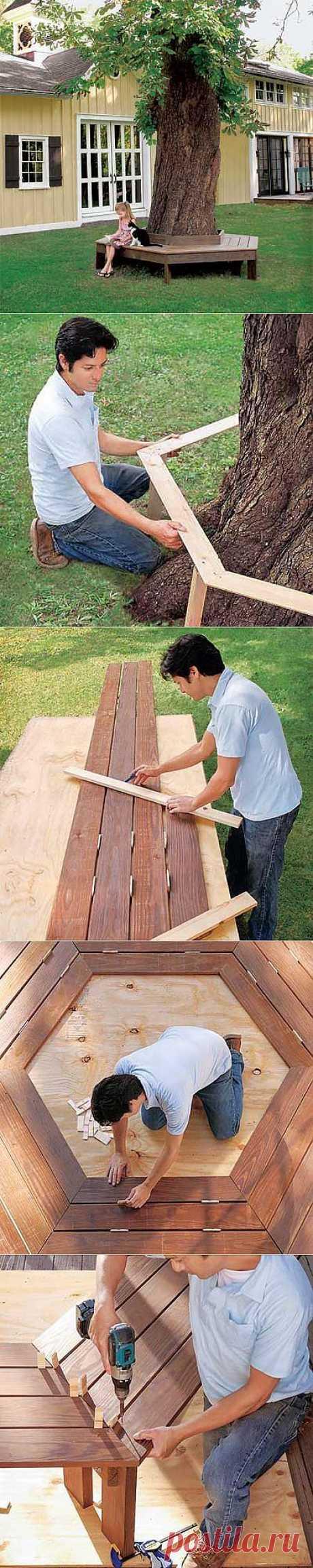 Как построить скамейку под деревом | Хитрости жизни
