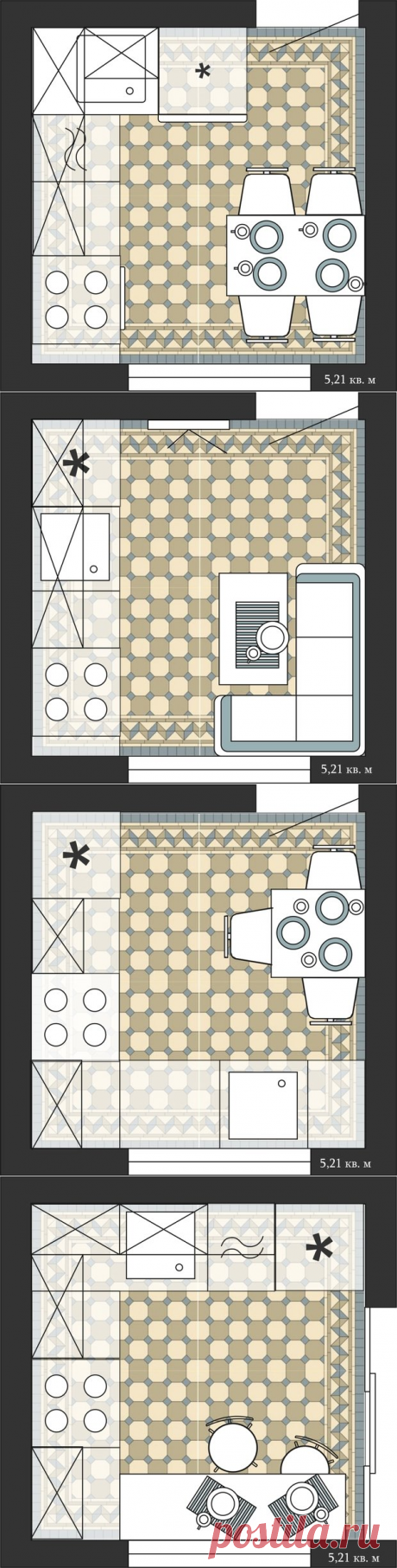 4 хороших варианта планировки квадратной кухни в хрущевке | Свежие идеи дизайна интерьеров, декора, архитектуры на InMyRoom.ru