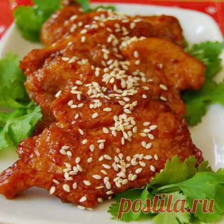 Свиные отбивные на сковороде - рецепт по-пекински