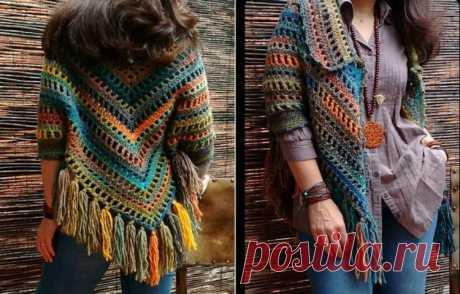 woven square motif shawl model | Diligent Ladies Blog Site