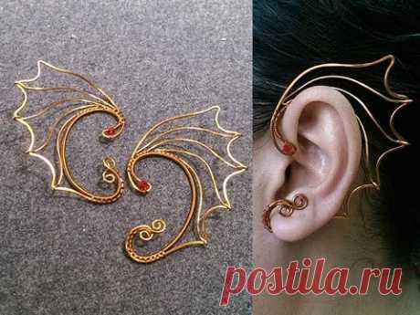 как проектировать Крылья Дракона earcuff - DIY wire jewelry 244