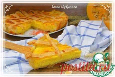 Пирог тыквенно-творожный с яблоком - кулинарный рецепт