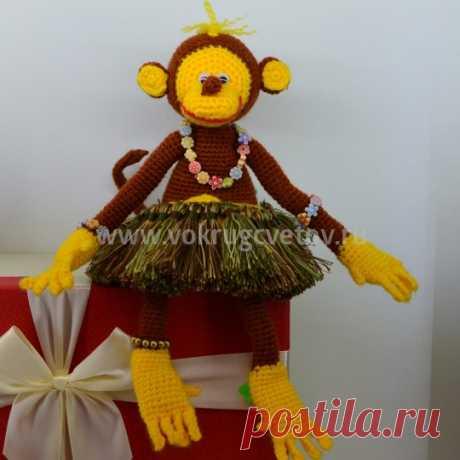 Вязаная игрушка ручной работы обезьянка - интернет магазин «Вокруг цветов» с доставкой.